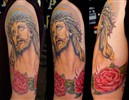 Jesus with roses color tattoo