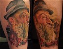 Popcorn Sutton color custom portrait tattoo