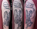 black and grey cowboy on horse custom tattoo.